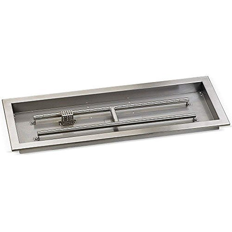 30 x 10 Stainless Steel Rectangular Drop-in Fire Pit Pan With Electric Ignition System kit` CSA Certified