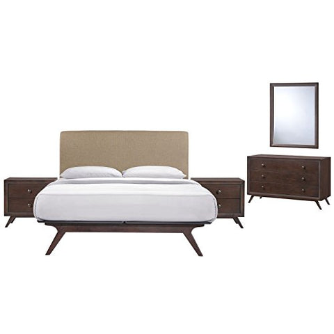 Tracy 5 Piece Queen Bedroom Set - Cappuccino Latte