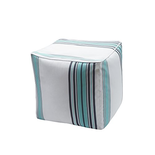 "Printed Stripe 3M Scotchgard Outdoor Square Pouf1 Pouf:18x18x18""BlueMP31-2885"