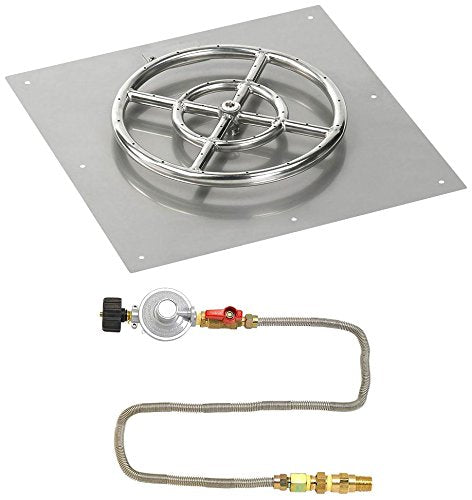 18 Square Stainless Steel Flat Pan with Match Light Kit (12 Ring) - Propane