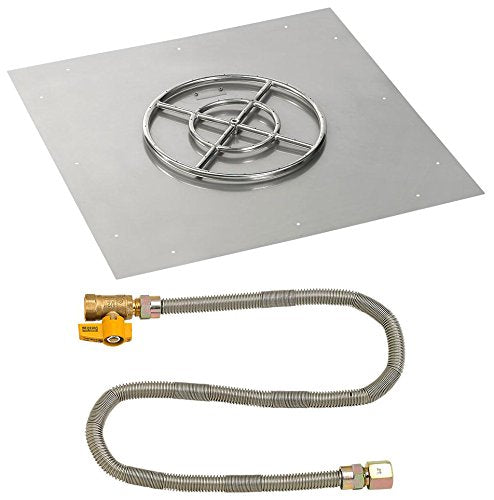 36 Square Stainless Steel Flat Pan with Match Light Kit (18 Ring) - Natural Gas