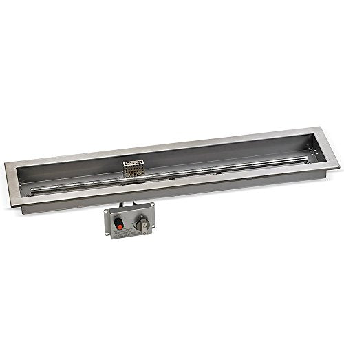 36 x 6 Stainless Steel Linear Drop-in Fire Pit Pan With Electric Ignition System kit` CSA Certified