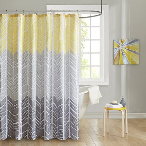 100 Microfiber Printed Shower Curtain1 Shower Curtain:72x72YellowID70-790