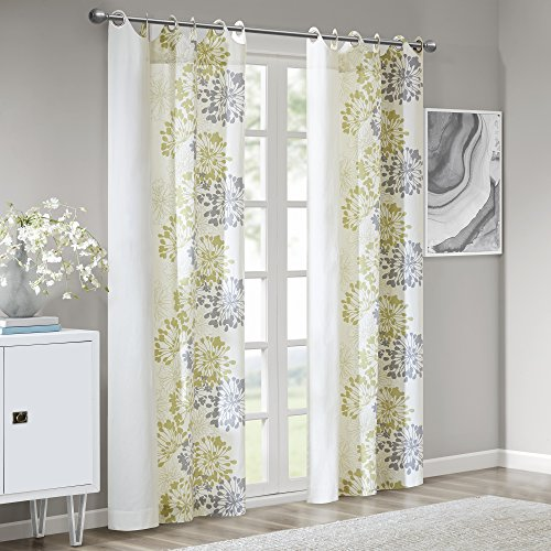 Window Curtain1 Window Panel:50x84Green/WhiteWIN40-106
