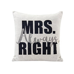 Mrs. Always Right White Cotton Jacquard Printed Decorative Toss Throw Accent Pillow by Danya B.