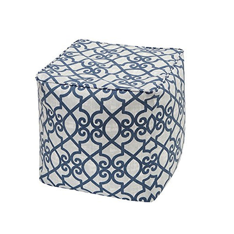 "Fretwork 3M Scotchgard Outdoor Square Pouf1 Pouf:18x18x18""NavyMP31-2849"