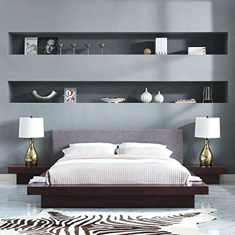 Freja 3 Piece Queen Fabric Bedroom Set - Cappuccino Gray