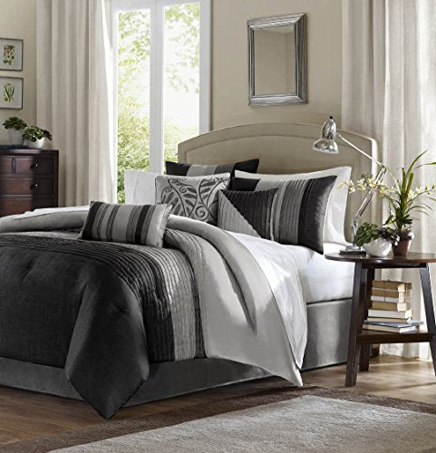 "7 Piece Comforter Set2 Standard Shams:20x26""(2) 1 Bed Skirt:54x75+15"" 1 Comforter:82x90"" 3 Decorative Pillows:18x18""/12x18""/16x16""BlackMP10-2587"