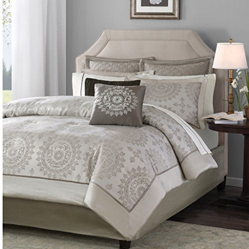 12 Piece Complete Bed Set 2 Euro Shams:26x26(2) 2 Pillowcases:20x32(2) 2 Standard Shams:20x26+2(2)1 Comforter:90x92 2 Dec Pillows:18x18/6.5x18 1 Fitted Sheet:60x80+14 1 Bedskirt:60x80+15 1 Flat Sheet:90x102TaupeMP10-118