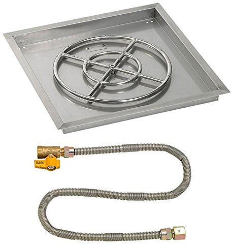 24 Square Stainless Steel Drop-In Pan with Match Light Kit (18 Fire Pit Ring) Natural Gas