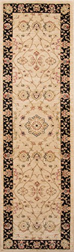 "Momeni Rugs ZIEGLZE-01BLK2376 Ziegler Collection, Traditional Area Rug, 2'3"" x 7'6"" Runner, Black"