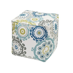 "Printed Medallion 3M Scotchgard Outdoor Square Pouf1 Pouf:18x18x18""BlueMP31-2873"