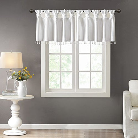 100 Polyester Twisted Tab Valance With Beads1 Valance:50W x 26LWhiteMP41-4453