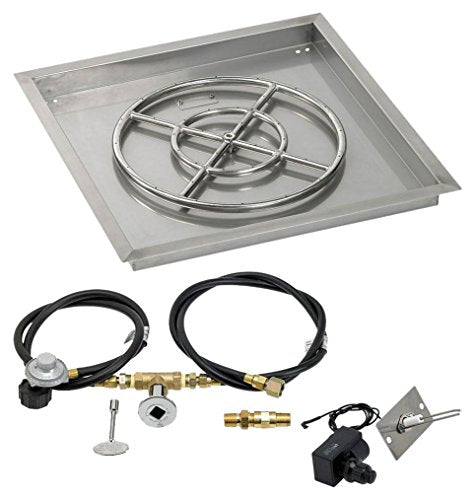 24 Square Stainless Steel Drop-In Pan with Spark Ignition Kit (18 Fire Pit Ring) Propane
