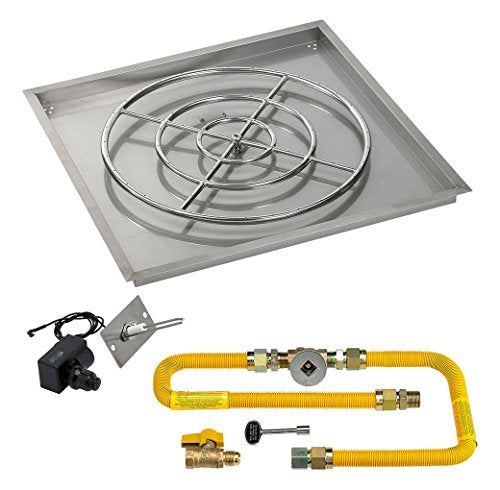 36 High-Capacity Square Stainless Steel Drop-In Pan with Spark Ignition Kit (24 Fire Pit Ring) Natural Gas