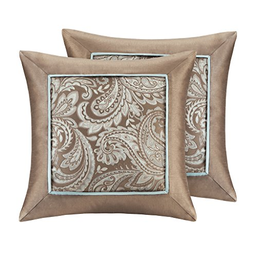 "Jacquard Square Pillow Pair2 Decorative Pillows:20x20"" (2)BlueMP30-1539"