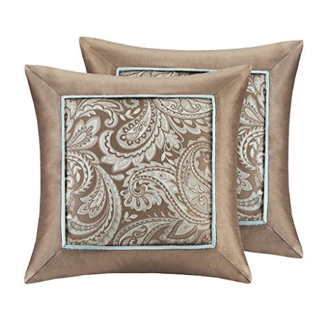 Jacquard Square Pillow Pair2 Decorative Pillows:20x20 (2)BlueMP30-1539