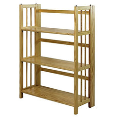 "3-Shelf Folding Stackable Bookcase 27.5"" Wide-Natural"