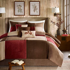 "7 Piece Comforter Set2 Shams:20x26""(2) 1 Comforter:90x90"" 3 Pillows:16x16""/12x18""/18x18"" 1 Bedskirt:60x80+15""RedMP10-283"