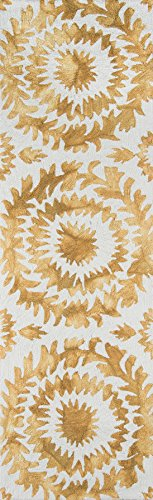 "Momeni Rugs SEREESRE-3YEL2376 Serene Collection Transitional Area Rug, 2'3"" x 7'6"" Runner, Yellow"