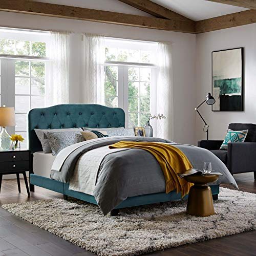 Amelia Queen Performance Velvet Bed - Sea Blue