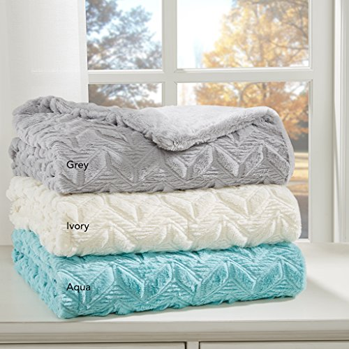 Textured Plush Down Alternative Throw1 Throw:50x60GreyID50-1041