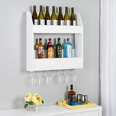 2-Tier Floating Wine and Liquor Rack, White