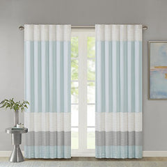 "Polyoni Pintuck Window Curtain1 Window panel:50x84"" Rod pocket and back tabsAquaMP40-4374"