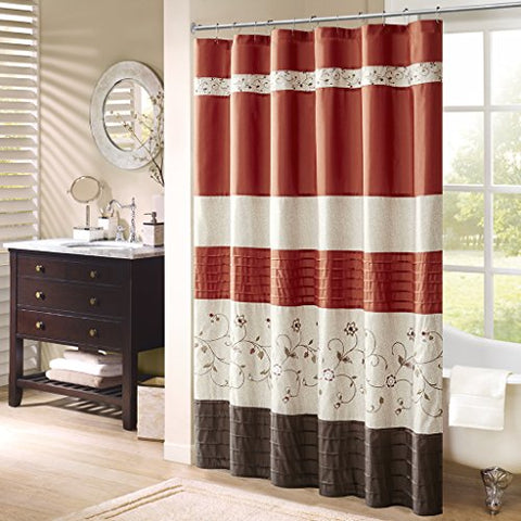 Faux Silk Embroidered Floral Shower Curtain1 Shower Curtain:72x72SpiceMP70-2646