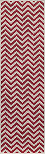 "Momeni Rugs BAJA0BAJ-9RED2376, Baja Collection Contemporary Indoor & Outdoor Area Rug, Easy to Clean, UV protected & Fade Resistant, 2'3"" x 7'6"" Runner, Red"