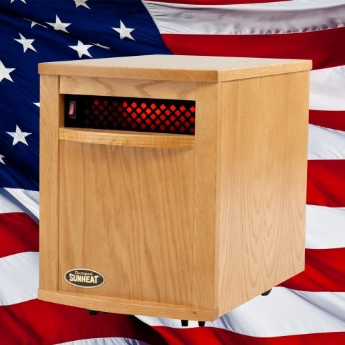 Original SUNHEAT Amish 1500 5 Year Warranty Infrared Heater-Fully Made in the USA-Nebraska Oak