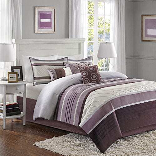 "7 Piece Comforter Set1 Comforter:104x90"" 2 King Shams:20x36"" (2) 1 Bedskirt:72x84+15"" 3 Dec Pillows:18x18""/16x16""/12x18""PurpleMP10-3758"