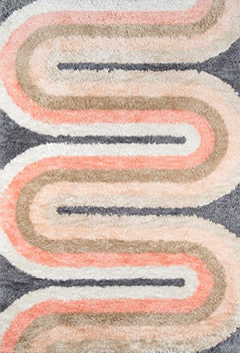 "Novogratz Retro Collection Retro Wave Shag Area Rug, 2'3"" x 7'6"" Runner, Pastel"