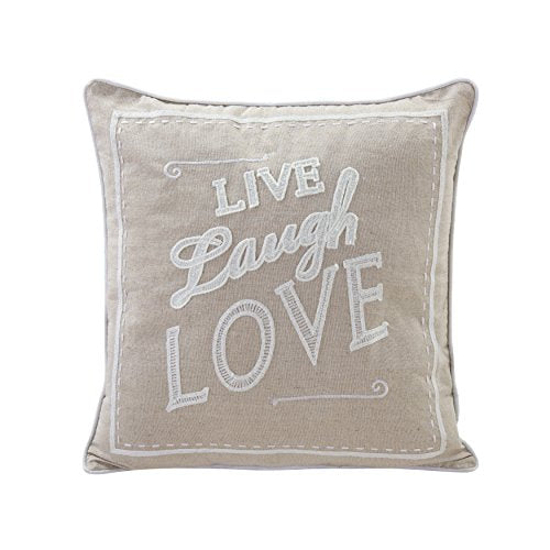 Beige Live Laugh Love Linen Embroidered Decorative Toss Throw Accent Pillow by Danya B.