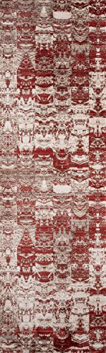 "Momeni Rugs RUSTIRR-01RED2380 Rustic Romance Collection Contemporary Area Rug, 2'3"" x 8'0"" Runner, Red"