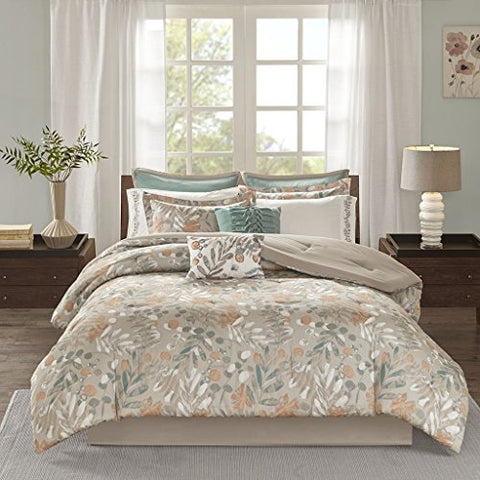 10 Piece Cotton Sateen Comforter Set1 Comforter:104W x 92L2 King Shams:20W x 36L + 2D (2)1 Bedskirt:72W x 84L + 15D2 Decorative Pillows:18W x 18L/12W x 18L2 Euro Shams:26W x 26L + 1D (2)2 King Pillowcases:20W x 40L (2)SpiceMP10-4929
