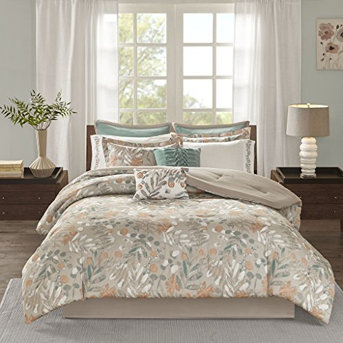 10 Piece Cotton Sateen Comforter Set1 Comforter:104W x 92L2 King Shams:20W x 36L + 2D (2)1 Bedskirt:78W x 80L + 15D2 Decorative Pillows:18W x 18L/12W x 18L2 Euro Shams:26W x 26L + 1D (2)2 King Pillowcases:20W x 40L (2)SpiceMP10-4928