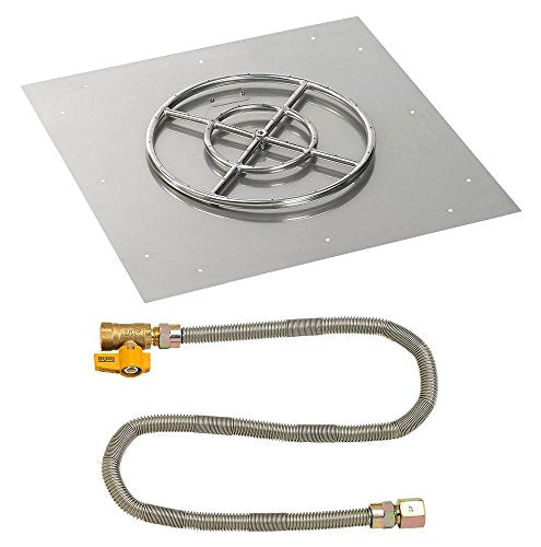 30 Square Stainless Steel Flat Pan with Match Light Kit (18 Ring) - Natural Gas