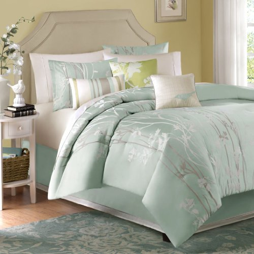 "7 Piece Comforter Set2 King Shams:20x36+2""(2) 3 Decorative Pillows:18x18""/16x16""/12x20"" 1 Bed Skirt:78x80+15"" 1 Comforter:104x92""GreenMP10-002"
