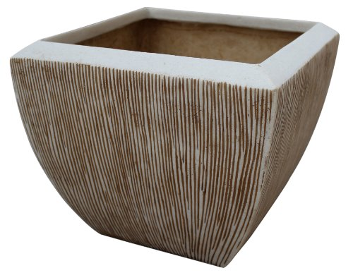 Square Flower Pot, ribbed finish, 3/set; 14