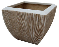"Square Flower Pot, ribbed finish, 3/set; 14"" x 14"" x 12""; 17"" x 17"" x 16""; 21"" x 21"" x 19"""