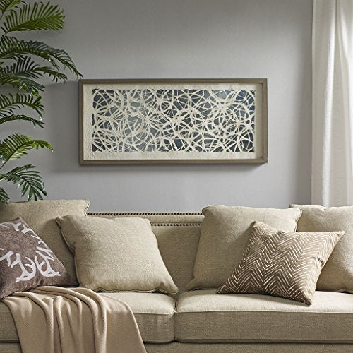 "Rice Paper With Silver Foil back Wall Art1 Wall Art:40""W x 18""H x 1.6""DNaturalHH95B-0008"
