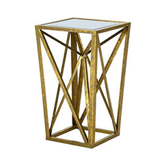 "Gold Angular Mirror Accent Table1 Accent Table:12""W x 12""D x 20""H Item Weight /LB:7.5lbsGoldFPF17-0293"