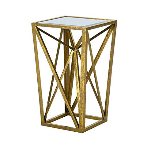 Gold Angular Mirror Accent Table1 Accent Table:12W x 12D x 20HItem Weight /LB:7.5lbsGoldFPF17-0293