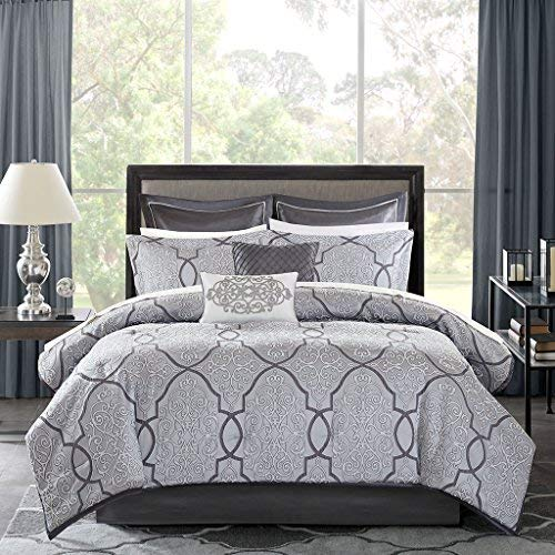 12 Piece Complete Bed Set1 Comforter:106x922 King Shams:20x36+2 (2)1 Bedskirt:72x84+152 Decorative Pillows:18x18/12x182 Euro Shams:26x26+2 (2)1 Flat Sheet:110x1021 Fitted Sheet:72x84+142 Pillowcases:20x40 (2)SilverMP10-4046