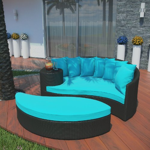 Taiji Outdoor Patio Wicker Daybed - Espresso Turquoise