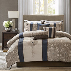 "7 Piece Jacquard Comforter Set1 Comforter:104""L x 92""W 2 King Shams:20""W x 36""L(2) 1 Bed Skirt:78""L x 80""W +15""Drop 3 Decorative Pillows:18""W x 18""L/12""W x 18""L/16""W x 16""LNavyMP10-4345"