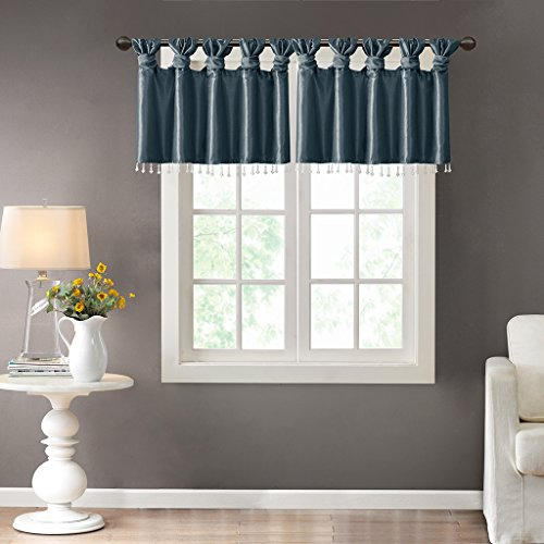100 Polyester Twisted Tab Valance With Beads1 Valance:50W x 26LTealMP41-4450