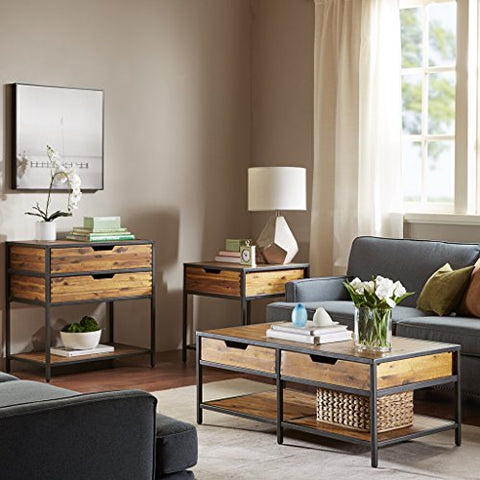 Coffee Table1 Coffee Table:44Wx22Dx17HTable Top:44Wx22Dx0.75TLeg Size:0.75Wx16.25HFront to Front Legs:44Side to Side Legs:22Shelf:20.875Wx22Dx0.75TShelf Distance:7.25Drawer Qty:2Drawer Interior Size:20.875Wx20Dx5HNatural/GraphiteMP120-0090