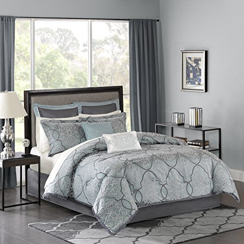 12 Piece Complete Bed Set1 Flat Sheet:110x1021 Bed Skirt:72x84+151 Comforter:106x922 Decorative Pillows:18x18 / 12x181 Fitted Sheet:72x84+142 King Shams:20x36+2 (2)2 Euro Shams:26x26+2 (2)2 Pillowcases:20x40 (2)BlueMP10-1667